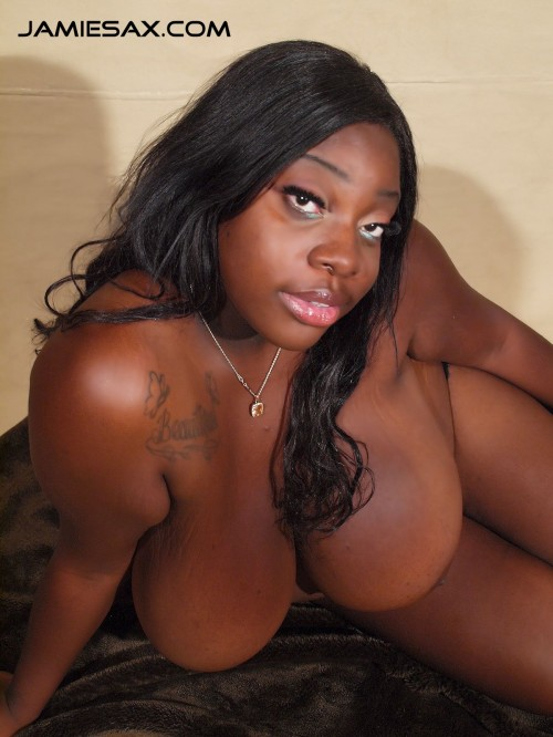 Jamie Sax's huge tits and ebony beauty.