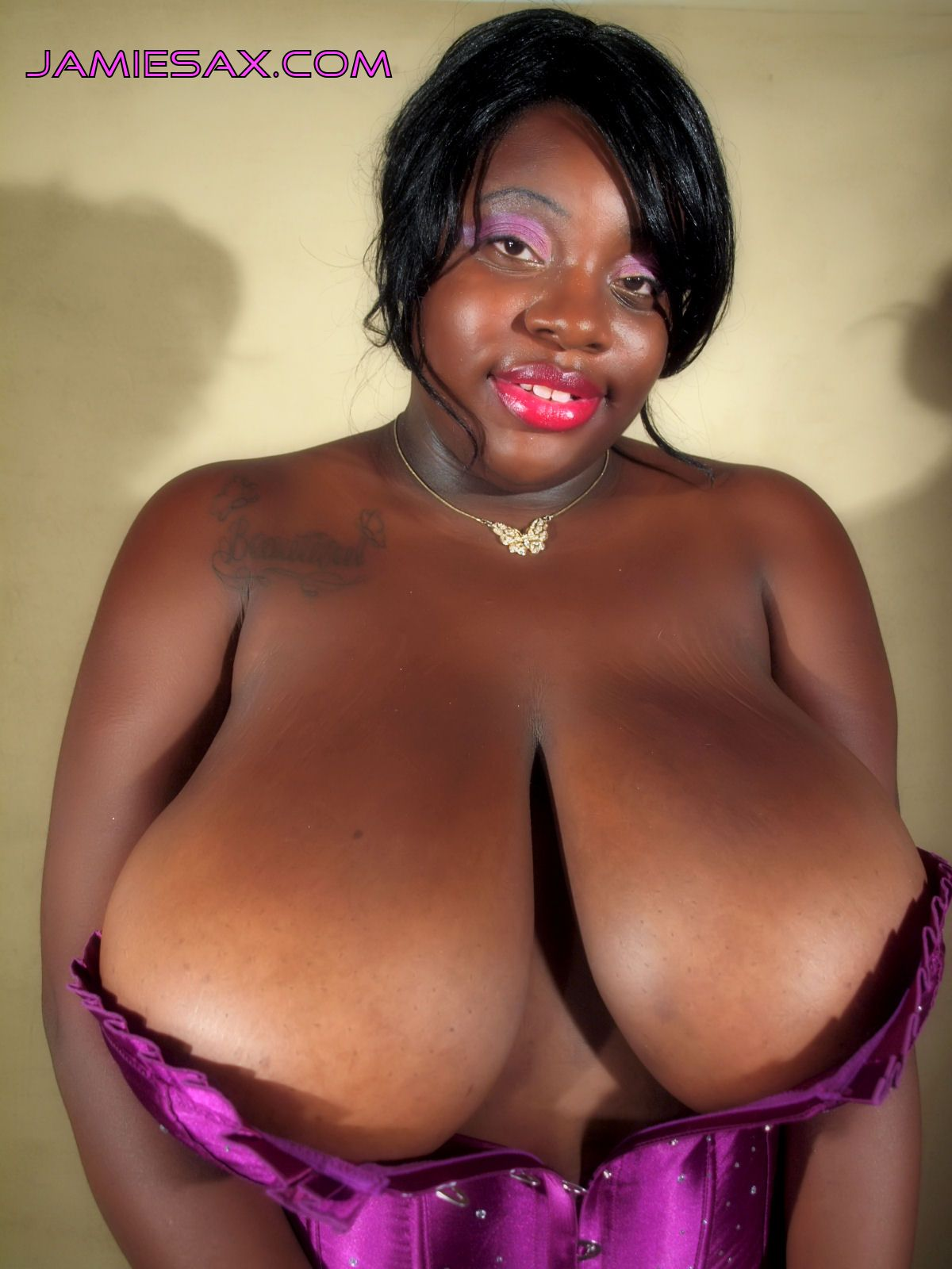 Black woman with big boob for