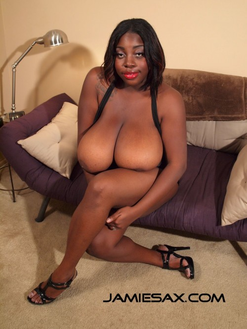 High heeled, big tit, ebony beauty, Jamie Sax, is ready to swallow cum.